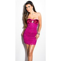 Sexy lace evening dress mini dress with rhinestones violet