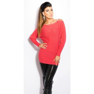 Elegant fine-knitted Carmen sweater long sweater coral
