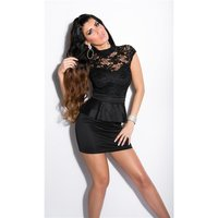SEXY GLAMOUR EVENING MINIDRESS WITH PEPLUM BLACK UK 8 (S)