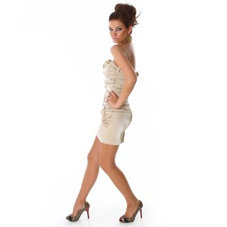 ELEGANT BANDEAU MINIDRESS WITH QUILLINGS GOLD