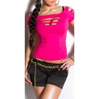 SEXY SHORT-SLEEVED SHIRT WITH RIFTS CLUBWEAR FUCHSIA
