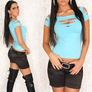 SEXY SHORT-SLEEVED SHIRT WITH RIFTS CLUBWEAR TURQUOISE