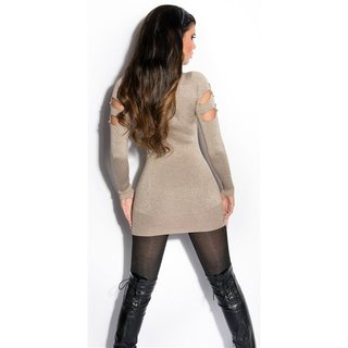Fancy fine-knitted long sweater with glitter threads and cut-outs taupe
