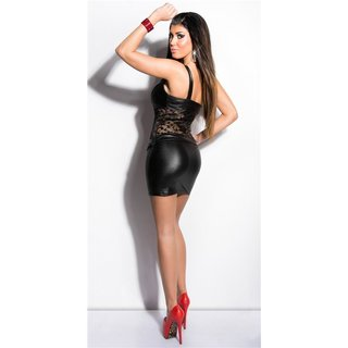 Sexy one-shoulder mini dress with lace wet look party black