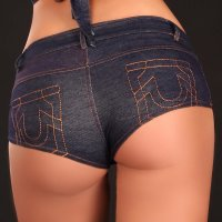 SEXY HOTPANTS JEANS-LOOK MIT ZIPPER GOGO CLUB BLAU 38 (L)