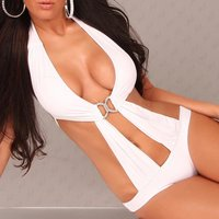Sexy monokini bikini beachwear white UK 10 (M)