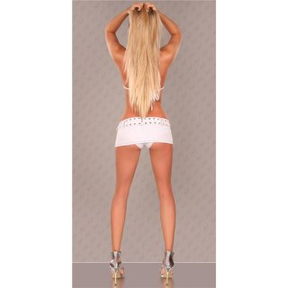 Super miniskirt with panty jeans look gogo clubwear white UK 10/12 (M/L)