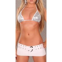 Super miniskirt with panty jeans look gogo clubwear white...