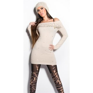 PRECIOUS FINE-KNITTED LONG SWEATER WITH RHINESTONES BEIGE