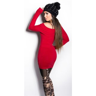 PRECIOUS FINE-KNITTED LONG SWEATER WITH RHINESTONES RED