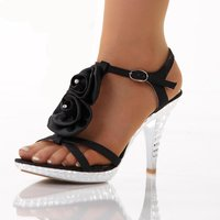 Sweet platform sandals with blooms black UK 6.5