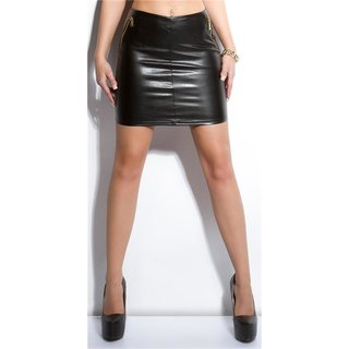 SEXY MINISKIRT IN LEATHER LOOK WITH 2-WAY ZIP BLACK UK 8 (XS)