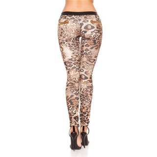 SEXY SKINNY DRAINPIPE PANTS IN FABRIC-MIX LEATHER-LOOK BLACK/LEOPARD