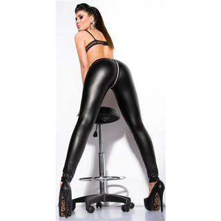 Sexy clubstyle wet look leggings with 2-way zipper black