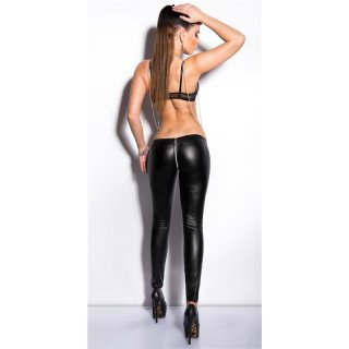 Sexy Clubstyle Glanz Leggings Wetlook mit 2-Way-Zipper Schwarz 38/40 (M/L)