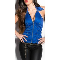 SEXY HALTERNECK TOP WITH LACE AND SKULLS ROYAL BLUE