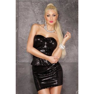Sexy glamour party mini dress with sequins and peplum black