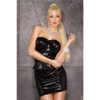SEXY GLAMOUR PARTY MINIDRESS WITH SEQUINS AND PEPLUM BLACK