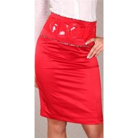 Elegant satin waist skirt with belt red UK 10