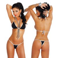 Sexy Brazil cut bikini beachwear black/silver Onesize (UK...