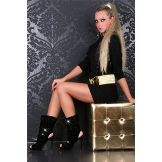 SEXY HIGH HEELS ANKLE BOOTS SHOES BLACK