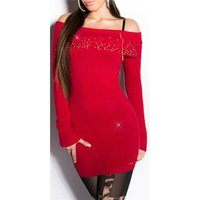 PRECIOUS FINE-KNITTED LONG SWEATER WITH RHINESTONES RED...