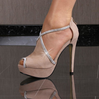 Sexy peep toes platform high heels shoes with rhinestones khaki
