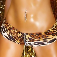 Sexy hot pants with zipper leopard look gogo clubwear...