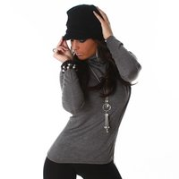 ELEGANT FINE-KNITTED SWEATER POLO-NECK SWEATER DARK GREY...