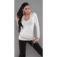 SEXY FINE-KNITTED SWEATER WITH RIVETS WHITE Onesize (UK...