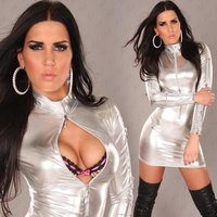SEXY LONG-SLEEVED MINIDRESS WET LOOK GOGO CLUBWEAR SILVER...