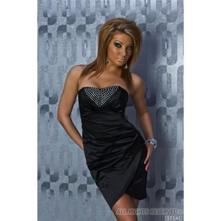 Glamorous satin evening dress with small stones black