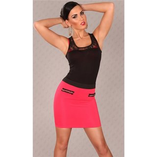ELEGANT BUSINESS MINISKIRT WITH CHAINS FUCHSIA