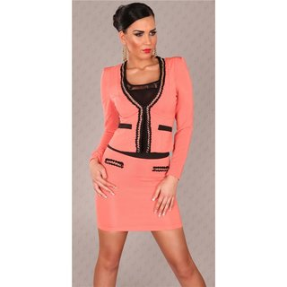 ELEGANT BUSINESS MINISKIRT WITH CHAINS CORAL