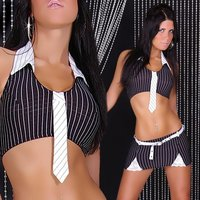 SEXY GOGO SET TOP+SKIRT CLUBWEAR BLACK/WHITE Onesize (UK...
