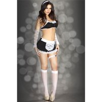 SEXY 7 PCS MAID COSTUME GOGO SET CLUBWEAR BLACK / WHITE