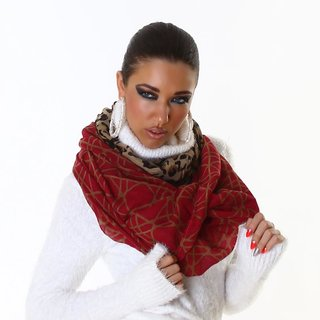 ELEGANT SUMMER TUBE SCARF IN LEO-LOOK RED