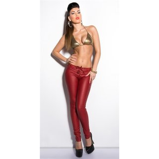 Sexy Hose in Leder-Look mit Schnürung und Nieten Wetlook Bordeaux
