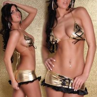 Sexy 2-tlg Gogo-Set Top + Rock Metallic-Look Gold/Schwarz...