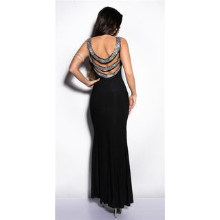 Divalike gala glamour evening dress with rhinestones black