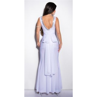 ADORABLE GALA GLAMOUR EVENING DRESS GOWN WITH GLASS STONES WHITE