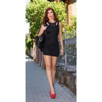 SEXY MINIDRESS STRAP DRESS IN 2-IN-1-LOOK WITH CHIFFON BLACK