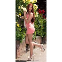 SEXY MINIDRESS STRAP DRESS IN 2-IN-1-LOOK WITH CHIFFON CORAL