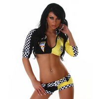 Sexy 4-tlg Racing Outfit Kostüm Gogo Stripper Multicolor...