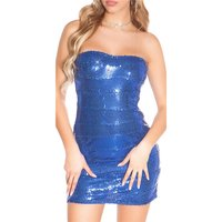 SEXY GLAMOUR BANDEAU MINIDRESS WITH SEQUINS BLUE Onesize...