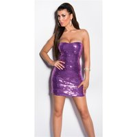 SEXY GLAMOUR BANDEAU MINIDRESS WITH SEQUINS PURPLE
