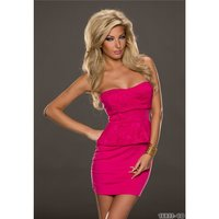 ELEGANT MINIDRESS EVENING DRESS WITH LACE FUCHSIA Onesize...