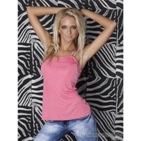 SEXY ONE-SHOULDER TOP WITH GLAM BUCKLE RHINESTONES PINK