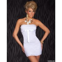 ELEGANT EVENING DRESS MINIDRESS WITH LACE WHITE Onesize...