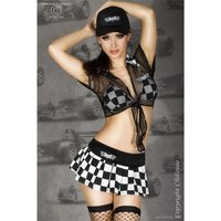 Sexy 6 pcs racing outfit gogo costume black/white UK...